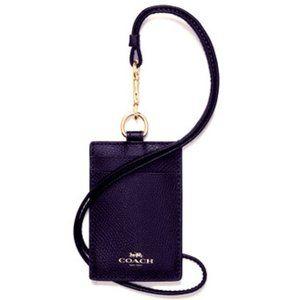 Coach- Black Leather Card Case I.d Holder Lanyard